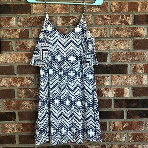 Blue & White Print Dress w/ Thin Straps & Low Back